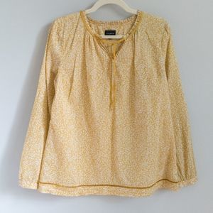 TALBOTS Yellow Floral Cotton Lightweight Blouse M